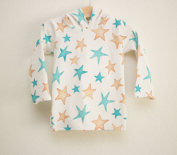 Gold and Teal Star Hooded Shirt
