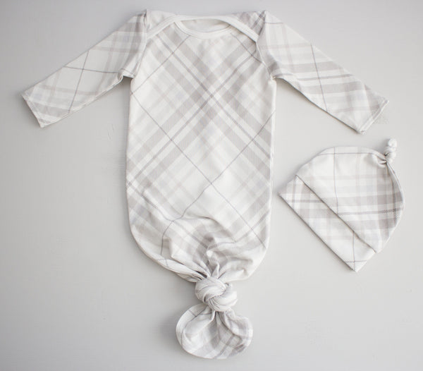 Modern Grey Plaid Onesie Tie Set