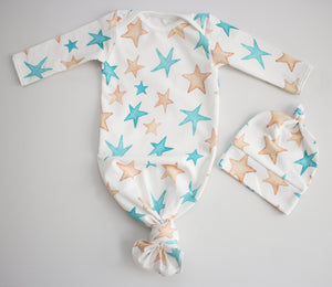 Gold and Teal Star Onesie Tie Set