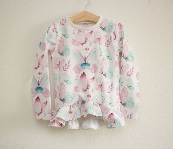 Butterfly Ruffled Long Sleeve Top