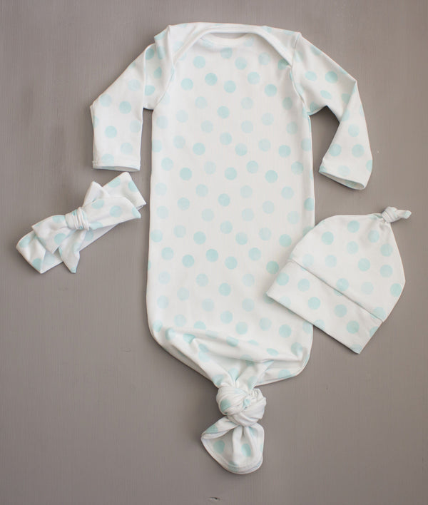 Blue Polka Dot Going Home Knot Set