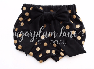Black Glitter Dot Bloomers for Babies and Toddlers
