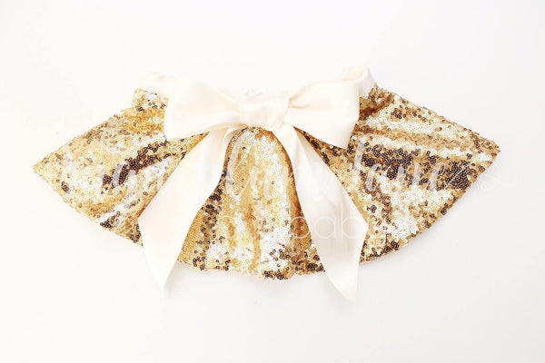 Gold Sequin Holiday Bow Skirt