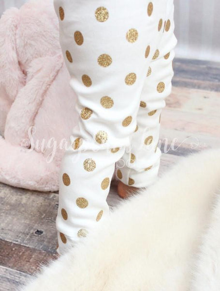 Gold Glitter Polka Dot Leggings
