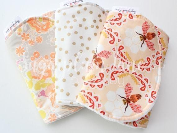 The Lovely Bee Burp or Bib Set - Set of 3