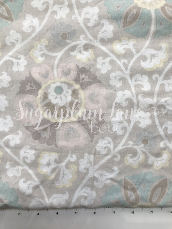 Light Grey with Pink and Mint Floral accents Fabric By the Yard