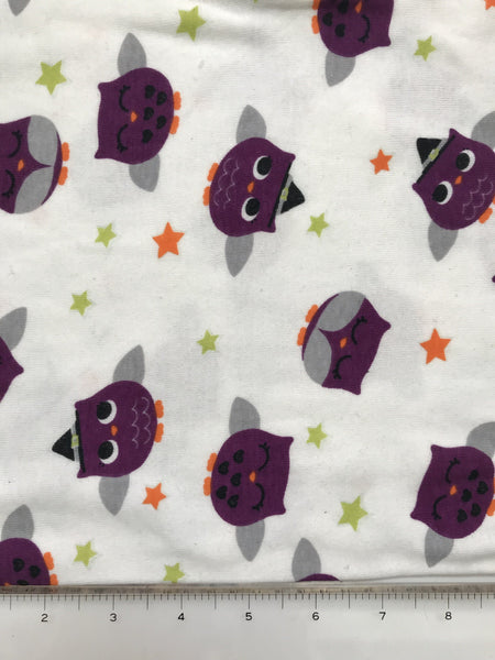 Owl Stretch Knit Fabric By the Yard
