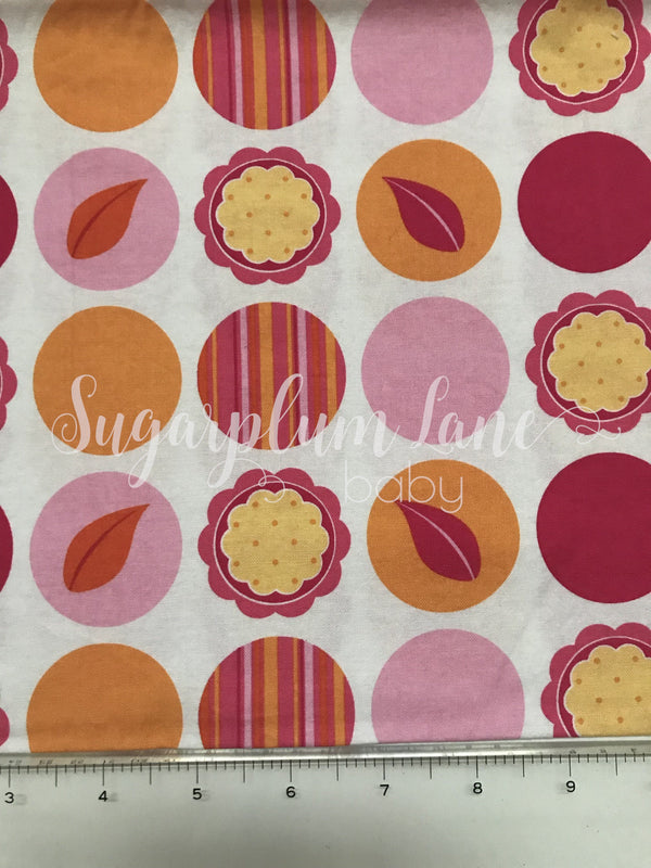 Pink and Orange Dot Fabric