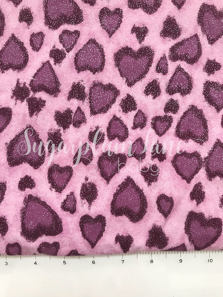 Purple Glitter Leopard Heart Stretch Knit Fabric By the Yard