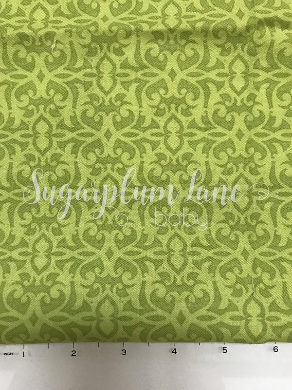 Lime Green Ornate Fabric