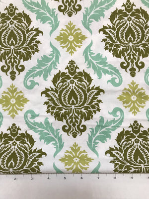 Mint and Green Damask Fabric By the Yard
