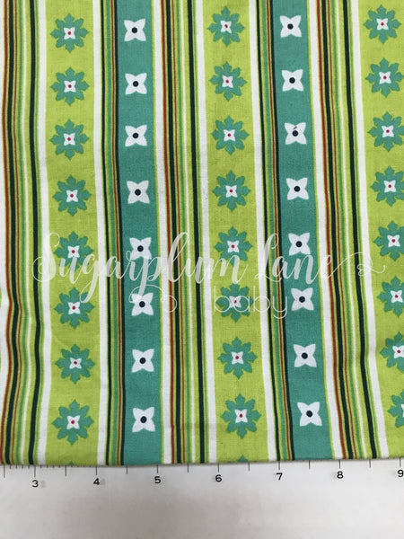 Lime Green Floral Stripe Fabric