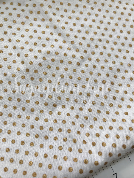 Metallic Gold Pin Dot Fabric By the Yard