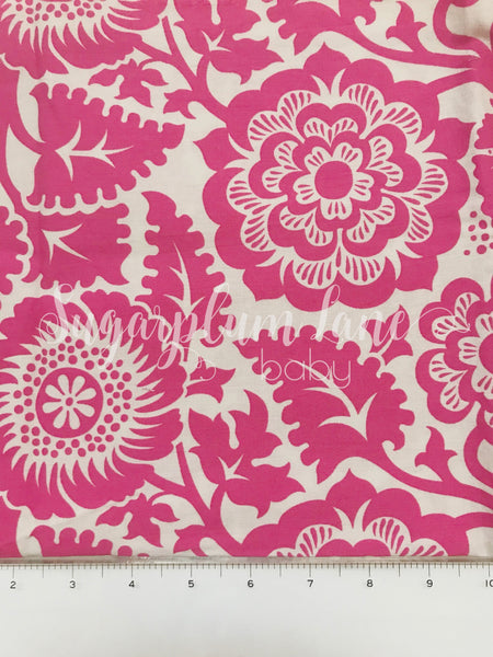 Pink and cream floral Fabric By the Yard
