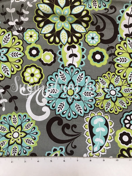 Lime Green and Teal Flower Fabric