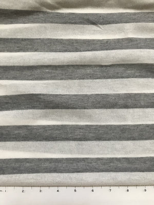 Lightweight Grey and White Stripe Sweater Knit Fabric