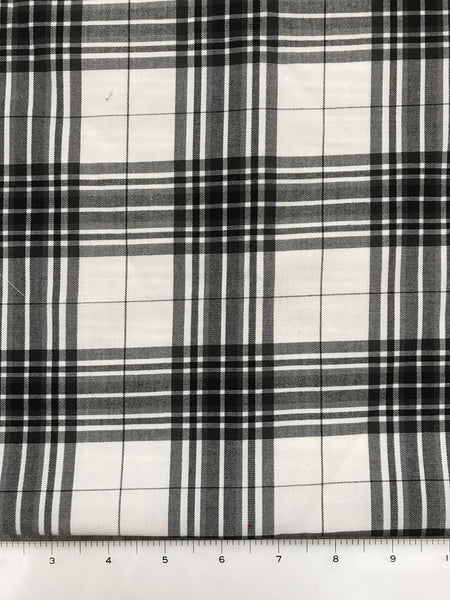 Black and White Plaid Fabric By the Yard