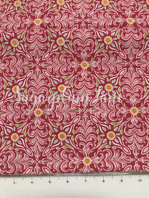 Pink and Coral Flower Fabric