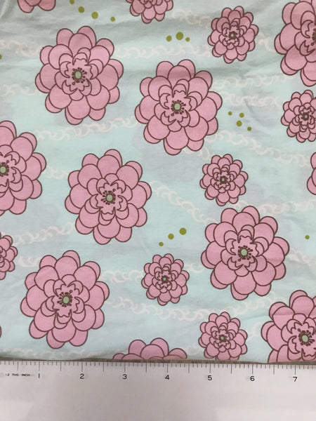 Light Blue and Pink Floral Fabric By the Yard