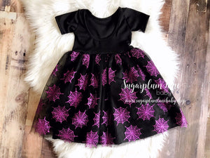 Halloween Spider Web Sparkle Twirl Dress ©