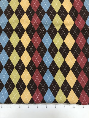 Brown Argyle Fabric By the Yard