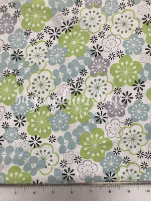 Lime Green and Light Blue Flower Fabric
