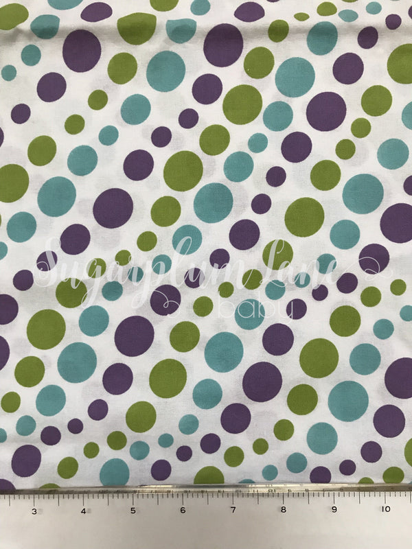 Blue, Purple and Green Bubble Dot Fabric By the Yard