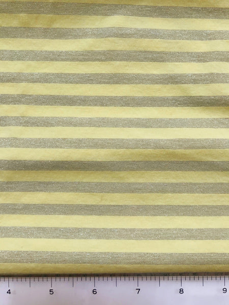 Yellow and Silver Sparkle Stripe Stretch Knit Fabric By the Yard