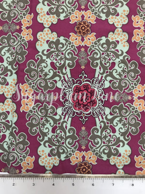 Mint and Fuchsia Ornate Fabric By the Yard