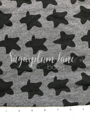 Heather Grey with Black stars Stretch Jersey Knit Fabric By the Yard