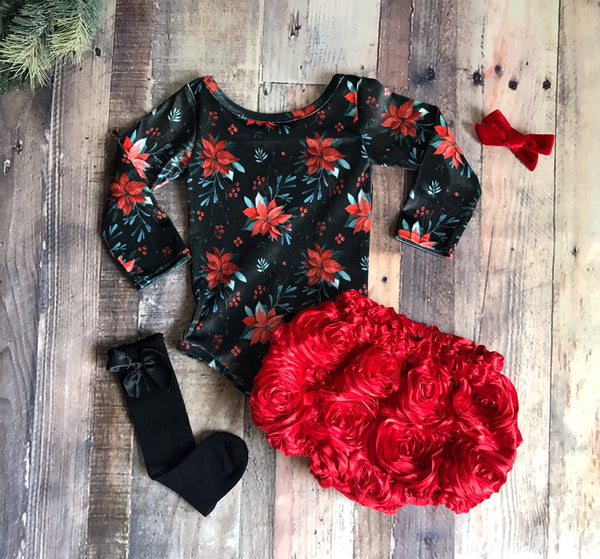 Poinsettia Velvet Leotard