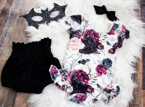 Halloween Rose Ruffled Leotard