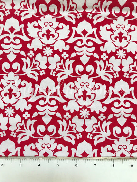 Red Ornate Fabric By the Yard