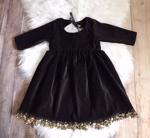 Black Velvet Tie Back Button Dress ©