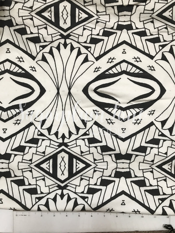 Black and White Tribal Organic Cotton Knit Fabric