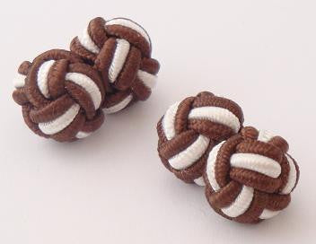 Dark Brown & White Silk Knots