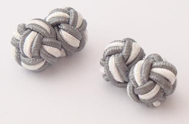 Gray & White Silk Knots