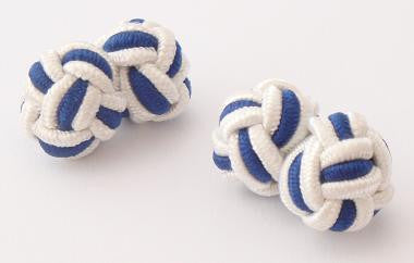 White & Navy Blue Silk Knots