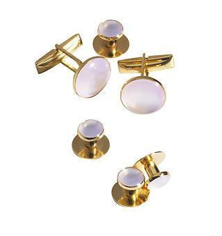 Gold & Faux Mother-of-Pearl Tuxedo Stud Set