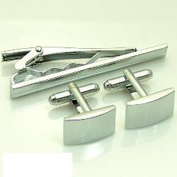 Cufflink and Tie Clip Gift Set - Silver Rectangle