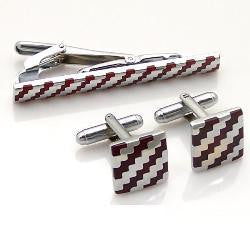 Cufflink and Tie Clip Set - Red and Silver Stripes