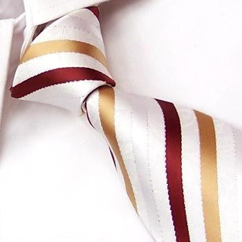 White, Silver, Gold & Burgundy Stripes