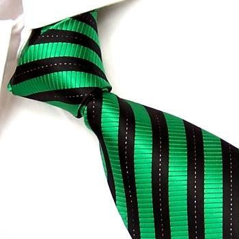 Black & Green Stripes with Silver Pinstripe