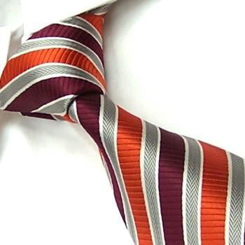 Burgundy, Orange and Silver Stripes