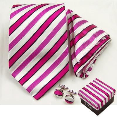 Matching Boxed Tie, Cufflink and Handkerchief Set - Pink and White Stripes