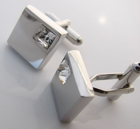 Silver Square with Pink Gem-Style