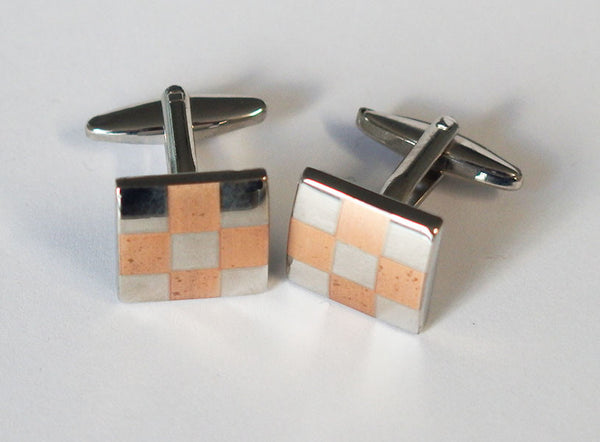 Orange and Silver Checkered Cufflinks