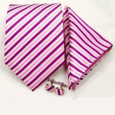 Matching Tie, Cufflink and Handkerchief Set - Pink Stripe