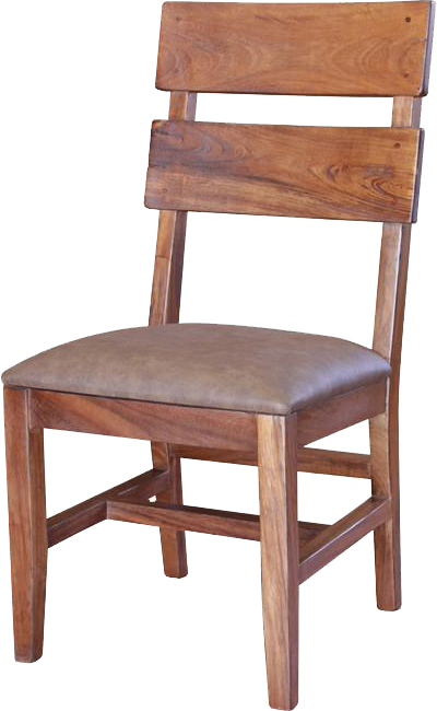 ... IFD 866CHAIR S   Parota Solid Wood Ladder Back Chair With Faux Leather  Cushion