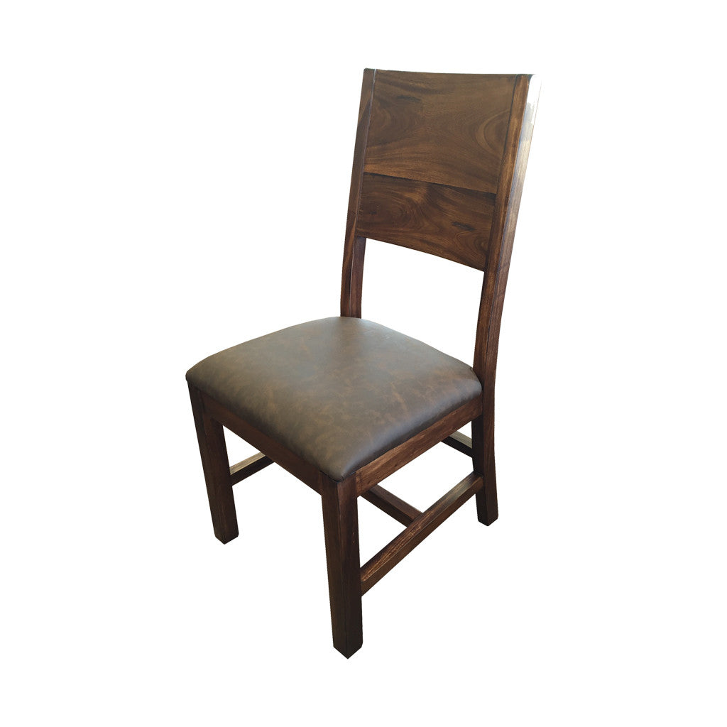 IFD-865CHAIR - Parota Solid Wood Chair with Faux Leather Cushion Seat